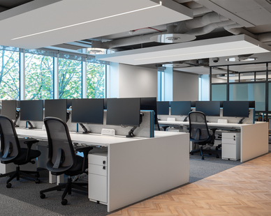 Open office, work stations.   Lighting: Notch 1 by Fluxwerx.   Delivering an actual slot in the ceiling which is extruded right to the vertical face of the drywall, Notch 1 provides precisely controlled optical symmetric and asymmetric area distributions with no view of the LED point source.