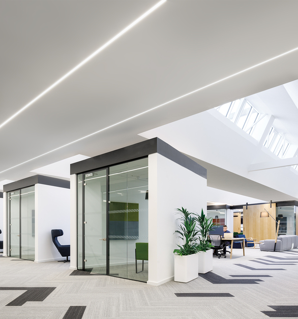 Open office, private meeting spaces, linear recessed lighting by Fluxwerx