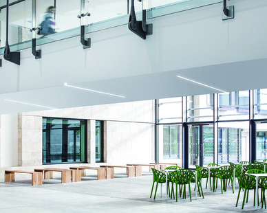 """Notch is an innovative, high-performance, recessed LED luminaire for the general lighting of commercial, institutional, retail and civic spaces.  A true 'slot' product that creates a luminous slot in the ceiling instead of the standard stripe, Notch reinvents the category by extruding the recessed slot to the face of the vertical drywall with the revolutionary Dado end option.  Notch delivers exceptional performance with the integration of Fluxwerx Anidolic Extraction optics to provide precisely controlled optical distributions with no view of the LED point source – up to 12' o.c. spacing delivering 35 fc @ 0.33 W/ft2.  Notch is available in continuous runs or standalone fixtures. Run lengths in 1ft increments in drywall and 2ft increments in t-bar ceilings (on-grid). Standalone fixtures are 2ft, 3ft, 4ft, or 8ft and as a 2ft x 2ft L-shaped standalone corner.  Symmetric and asymmetric area distributions and vertical surfaces illumination (VSI) distributions in both symmetric and asymmetric for library stacks and retail shelving Available in various open and closed patterns in all distributions for drywall or grid ceilings.  Notch is available in a variety of drywall options with extruded aluminum trim designs for trim, trimless and two unique mud-in drop trim options for precise fit and finish. Grid ceiling options include 15/16', 9/16' flat-T, 9/16' tegular as well as compatibility with 4"""" Armstrong® Techzone® or 4"""" USG® Logix ceiling systems."""