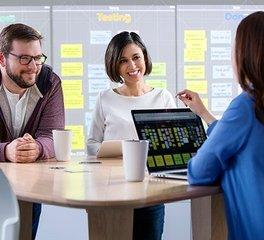 Nureva Agile team using Nureva Span Workspace as a digital Kanban board