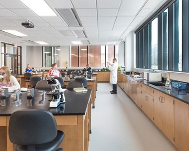 Bright and spacious lab classroom in the new Jack and Mary Dewitt Family Science Center at Northwestern College in Orange County, Iowa.