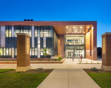 Modern exterior of the Jack and Mary Dewitt Family Science Center at Northwestern College in Orange County, Iowa.