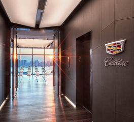 Nydree Flooring Cadillac Headquarters New York City New York Walnut Steel Gray Flooring Elevator Hallway
