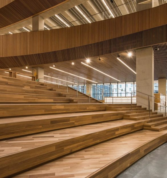 Rift and Quartered White Oak Natural covers the floors and walls of this ingenious design at the Calgary Public Library.