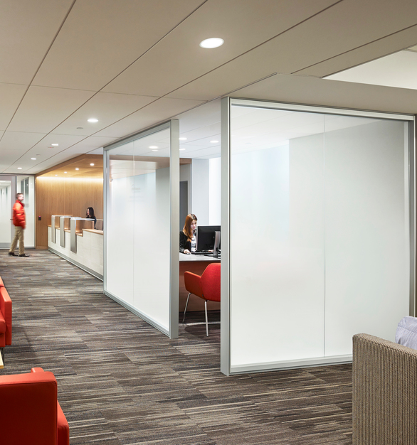 Bendheim's Ultra-White Fade® Laminated Glass is a key design element of this award-winning interior. It presents a superior gradient effect, produced through a unique interlayer technology. Photo by Halkin | Mason Photography.
