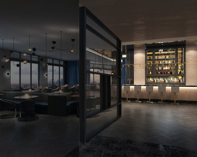 Twofold Studio designed the bar area with a privacy screen that adds the perfect touch to the hotel's sophisticated ambiance.