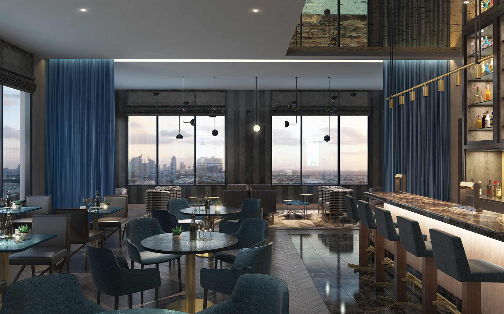 The lounge of the Oaklander features bar seating and consistent interior design choices throughout the project.