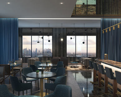 The lounge area in the Oaklander Hotel features bar seating