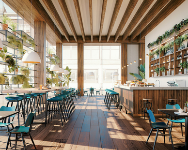 Natural light fills this cafe and showcases the nature-themed interior. OCL provided two different fixtures for the project, the Nova™ Pendant, and Glowball™ Pendant. Their modern design meshed well with the overall interior aesthetic of the space.
