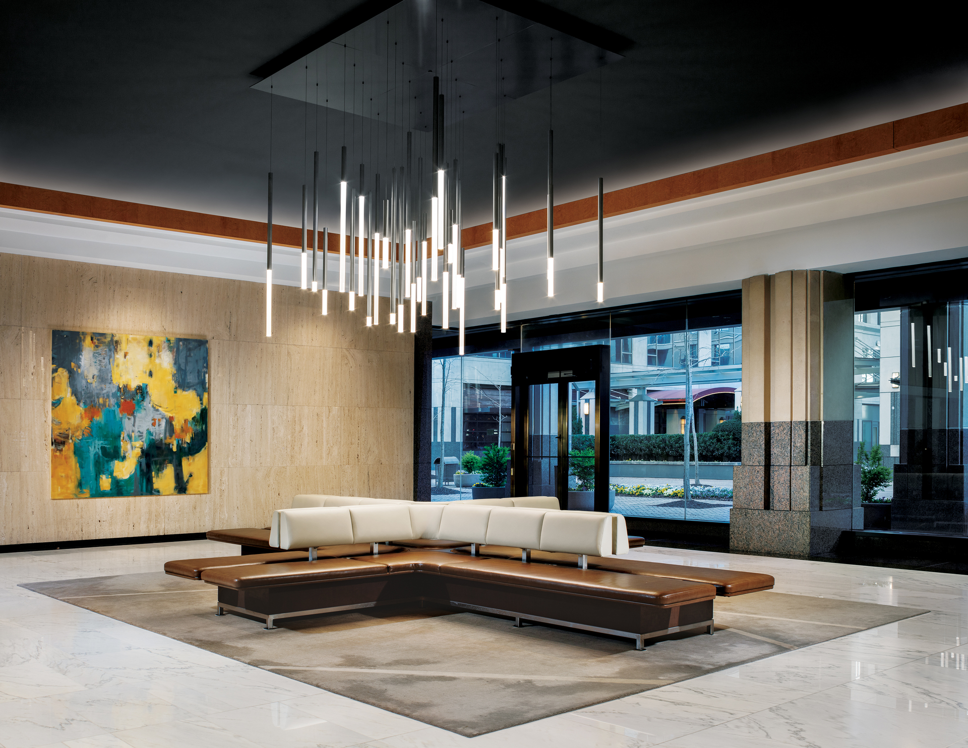 """Here's a fantastic look at our GlowStick™ Cluster at One Buckhead Plaza in Atlanta - often referred to as """"The Cathedral Building"""" with its Gothic cathedral motif, central """"vault"""" and ornamental buttresses reminiscent of flying buttresses."""