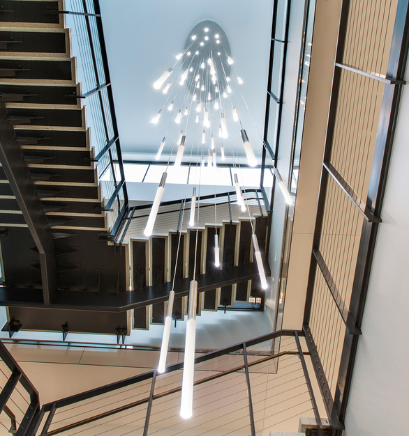 Create a timeless design to your office stairways with eye-catching lighting fixtures. The Glowstick™ Pendant can come in a variety of configurations to fit any interior space.