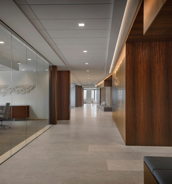 Orrick, Herrington & Sutcliffe International Law Firm office located in Houston, Texas features the PACT-KE5 as perimeter trim for the ceiling.