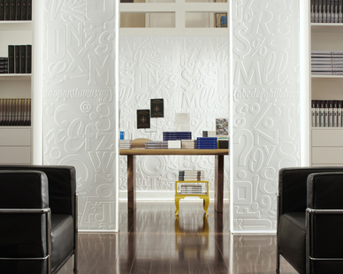 A bright and unique way to partition off your office space.  This paneling is paintable, perfect for any color scheme.