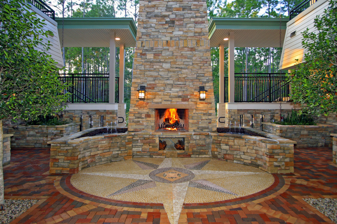 Stunning 48-inch magnum fireplace sits in the courtyard of this office complex.