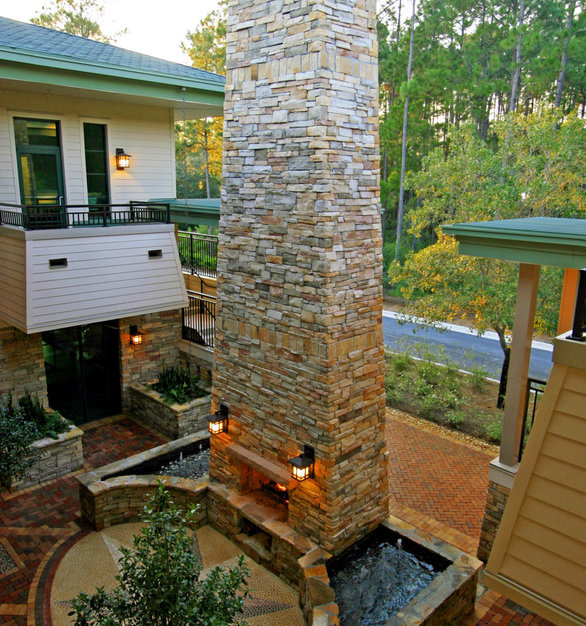 View from the balcony of this stunning office complex is a view of Earthcore's 48-inch magnum fireplace.