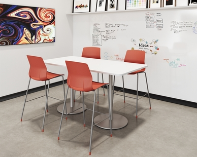 Imme chairs and Proof tables  are perfect together because of their range of applications and customizability.  Imme is pictured in Coral poly with matching glides and the Green-guard certified Proof table is shown 36 x 72 at bar height.