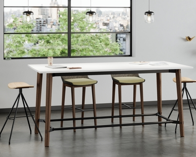 The Voodoo collection, developed by  Q Design, Chicago, mixes wood and metal to create a modern and elegant frame. Pictured in Dark Umber finish, the Voodoo barstool and table is paired with 2 Bodi stools in natural wood laminate.  The Bodi stool's unique saddle styling offers a variety of ways to sit (across or astride) and cradles the user in comfort. Bodi is perfectly suited in modern and industrial spaces. Laminate lead times are 48 hours. Upholstery options lead time 2-3 weeks.