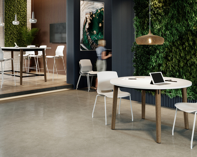 This biophilic workspace gets a boost of lightness with the white poly Imme chair on a white frame.  Shown in cafe height as well as bar height, both Imme seats are paired with Voodoo tables - the 48