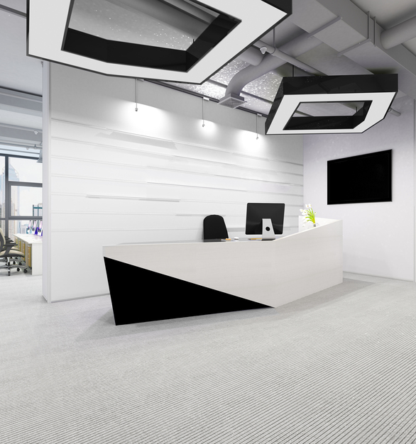 Office reception area featuring the projecting two-piece system with the CHFS and IBRR. The BSL-58 was used for the base, and custom use of the PACT-8 trim was used for the light fixture.