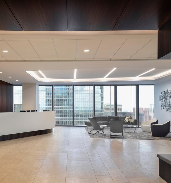 Orrick, Herrington & Sutcliffe International Law Firm features the BSL-400 under the reception desk, and the BSL-58 as the base for the far right-hand wall in their Houston, Texas location.