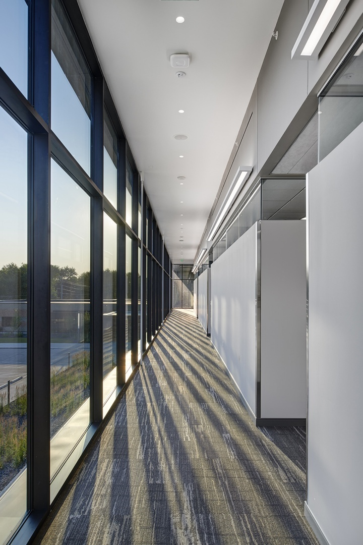 The curtain wall system allows natural light to fill the space promoting wellness and wellbeing.