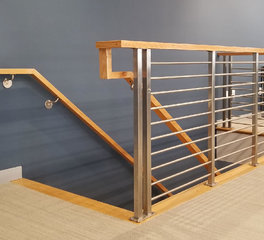 Office Space Railing Infill System AGS Stainless Steel Clearview Olympus Horizontal Down View