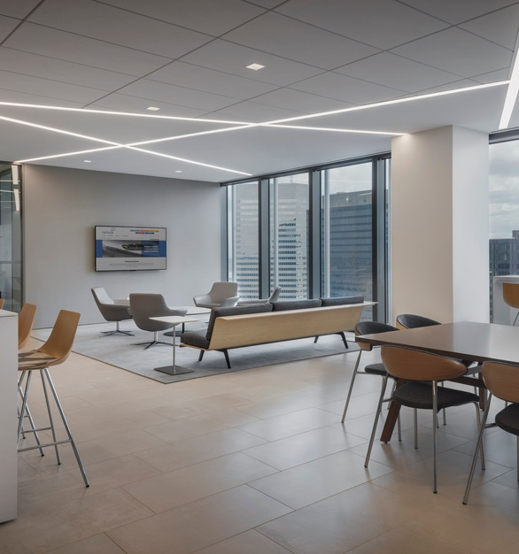 Orrick, Herrington & Sutcliffe International Law Firm office located in Houston, Texas features the BSL-58 as the base for all of the walls and counters.