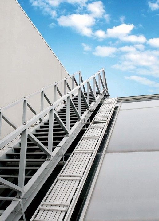 Here's an example of a custom rolling stair O'Keeffe's fabricated for a project in San Francisco, California.