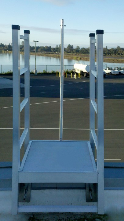 A fall arrest system, shown here in Model 503 Access Ladder, provides additional assistance when taking the stairs up or down from the rooftop.