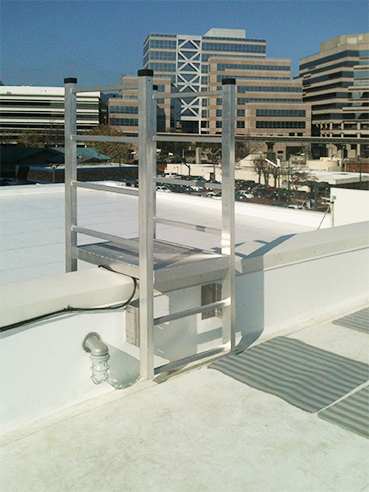 Model 503 Access Ladder, shown here from O'Keeffe's, is a great way to access the rooftop of any building.