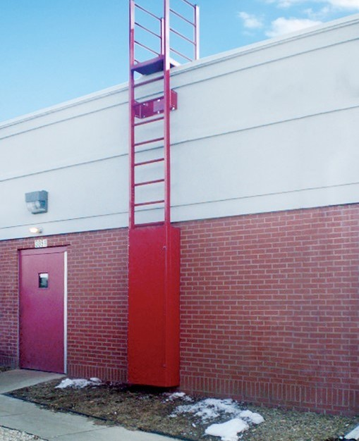 Shown here is O'Keeffe's Model 503 Access Ladder with a security door to access the rooftop of this building.