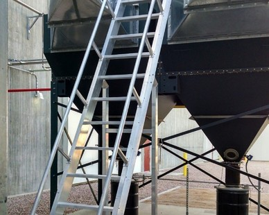 Model 521 Ship Ladder with Platform and Custom Mid-Span Support Posts created by O'Keeffe's.