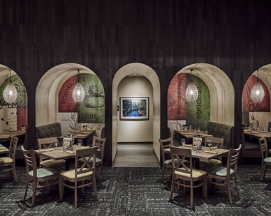 Architectural Systems used their custom Interwoven Eco-Panels in the Olive Garden Restaurant to create a beautiful feature wall.  This product can contribute to LEED Certification and is sustainable.