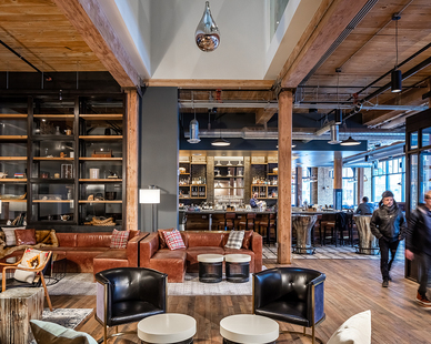 OlympiaTech provided electrical services the lobby and bar design at the historic renovation for the Hewing Hotel