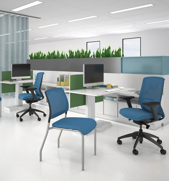 Clary hits above its weight class with durability, features, and options that make it an essential breakroom or multi-purpose seating. Clary stacks five high on the floor and five high on a dolly, making storage easy. The wall-saver design protects surrounding surfaces while the waterfall seat and molded foam promote healthy circulation and supportive comfort.