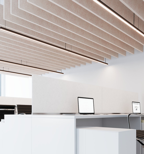 The Straight Acoustic Ceiling Baffle adds visual appeal to the open office cubicles while removing unwanted noise and echo.