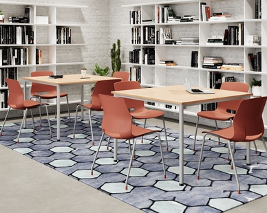 Dailey tables are available with a variety of top options. Pictured here with 42