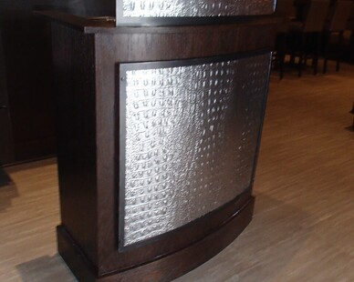 ASI added their custom panels to this host stand to accent the bar.