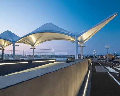 The Seaplane Lagoon Ferry Terminal is located in Alameda, CA featuring lighting products by Acuity Brands - Luminis®. Project in collaboration with Marcy Wong Donn Logan Architects and HLB Lighting.