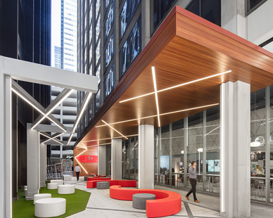 By creating a pocket park that is accessible to the general public, Shive-Hattery turned the alleyway into a usable outdoor space with ample seating, lighting, and shelter from the weather.