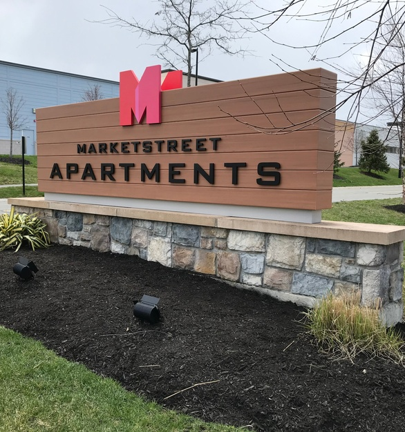 Market Street Apartments worked with Welch signage to create the perfect way to advertise their apartments with this mixed medium sign.