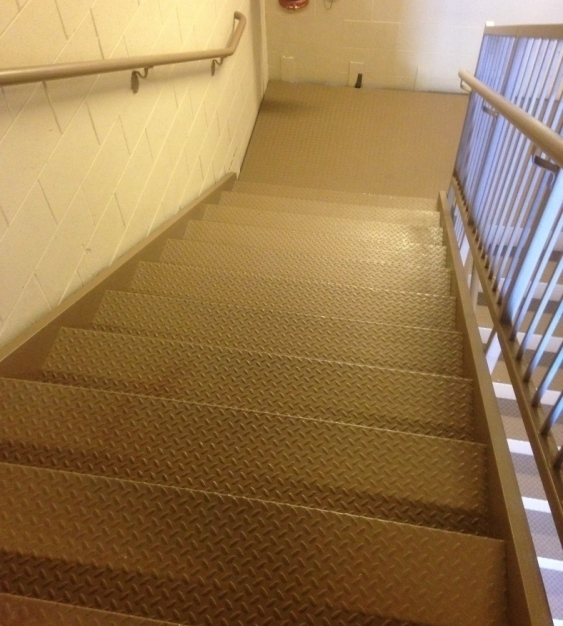 Pacific Stair Corporation's 200 Series Checker Plate Stair System is used in conjunction with checker plate landings.