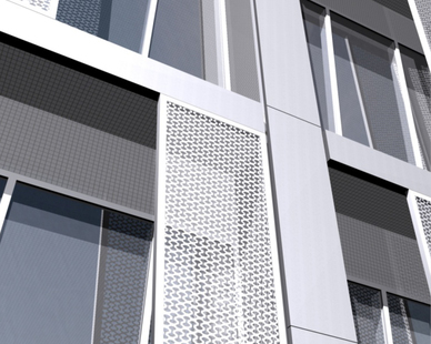 Titanium exterior shading panels reduce internal heat loads and provide the tower with its distinctive skin texture. Images © SOM