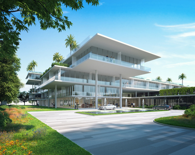 This concept design for an assisted living facility highlights the importance of health and wellness. With a terraced structure, residents are able to enjoy nature and community from multiple points of access.