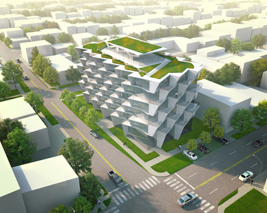 This residential building cleverly provides a self-shading facade for its residents as well as privacy.
