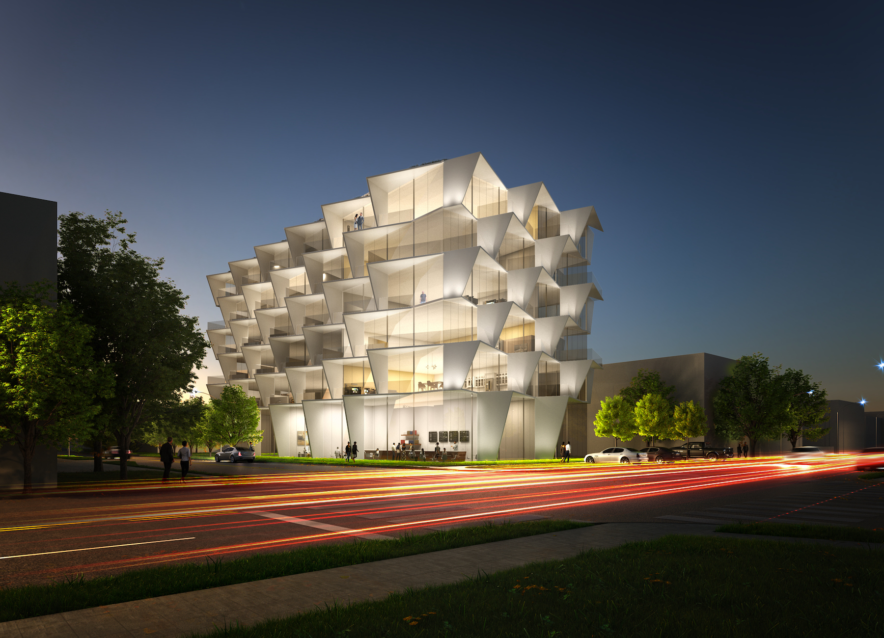 This residential building cleverly provides a self-shading facade for its residents as well as privacy. The floor to ceiling glass enables residents to capture the best daylight and views from within the apartments.
