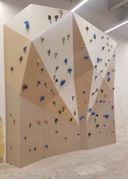 This corporate fitness center in Chicago, IL features a 750 sq. ft. panelized climbing wall system.