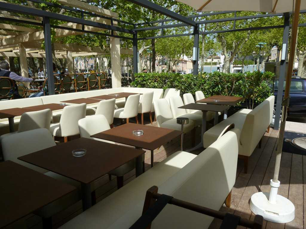 Paperstone leather bar tables