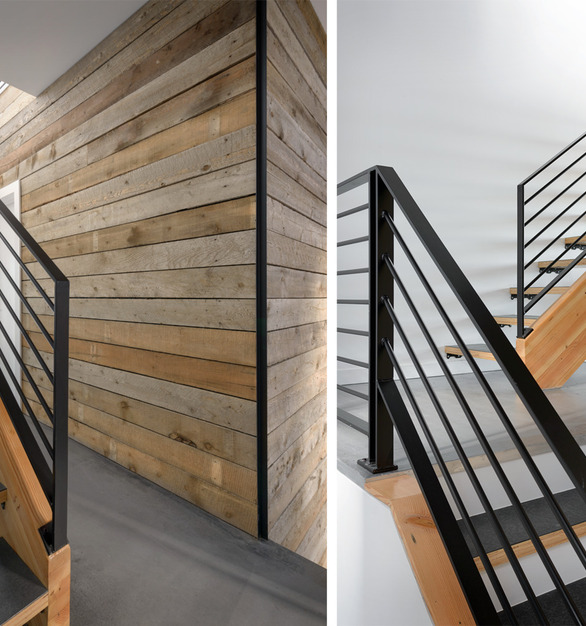 PaperStone Coverply in Slate used for stair treads in rustic modern stairway.