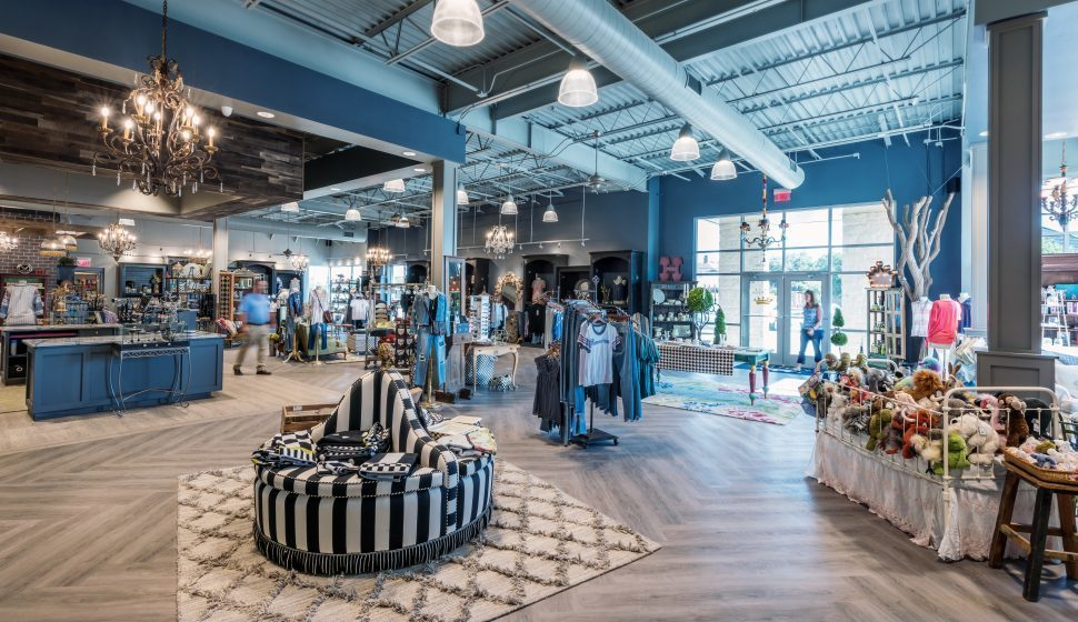A spacious salesfloor at Hulla B'Lu retail store in Lubbock, Texas, by Parkhill Smith & Cooper.